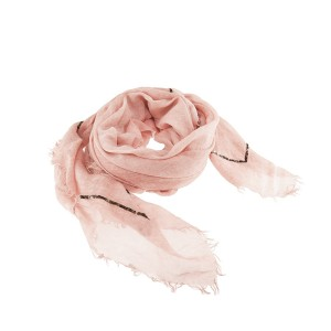 Grand Carré Voile Coton Rose Brodé Sequins Belle & Toile