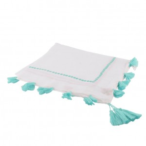 Echarpe Sequins Pompons Turquoise Belle & Toile