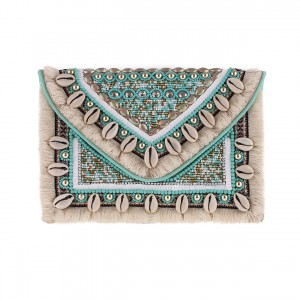 Pochette Brodée Coquillages Sequins Turquoise Belle & Toile