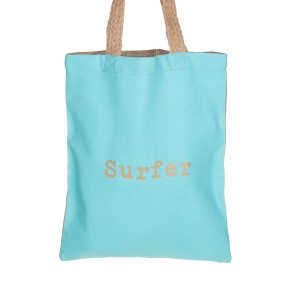 Sac Totebag Coton Jute Turquoise Surfer Belle & Toile