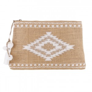 Pochette Jute Brodée Perles Blanches Belle & Toile