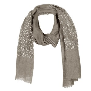 Echarpe Lin Chic Taupe Brodée Sequins Belle & Toile