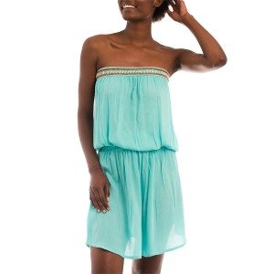 Robe Bandeau Brodée Coquillages Turquoise Belle & Toile