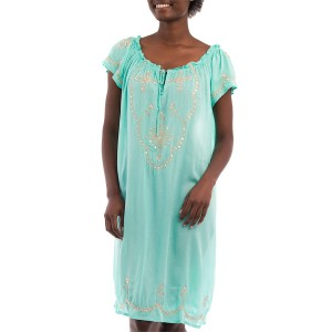 Robe Courte Brodée Sequins Turquoise Belle & Toile