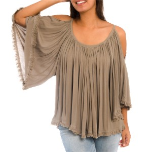 Top Chic Beige Manches Ouvertes Belle & Toile