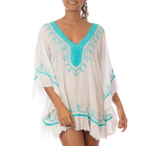 Pancho Blanc Brodé Turquoise Belle & Toile
