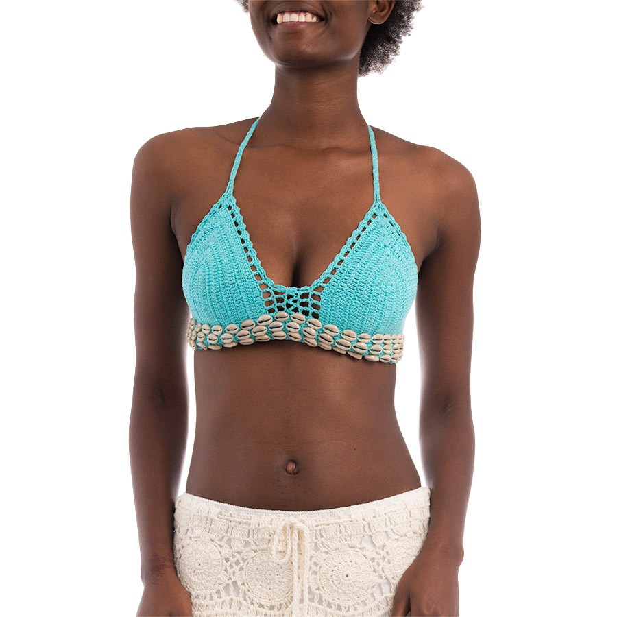 Brassière Crochet Plage Coquillages Turquoise Belle & Toile