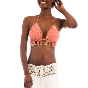Top Crochet Plage Coquillages Corail Belle & Toile