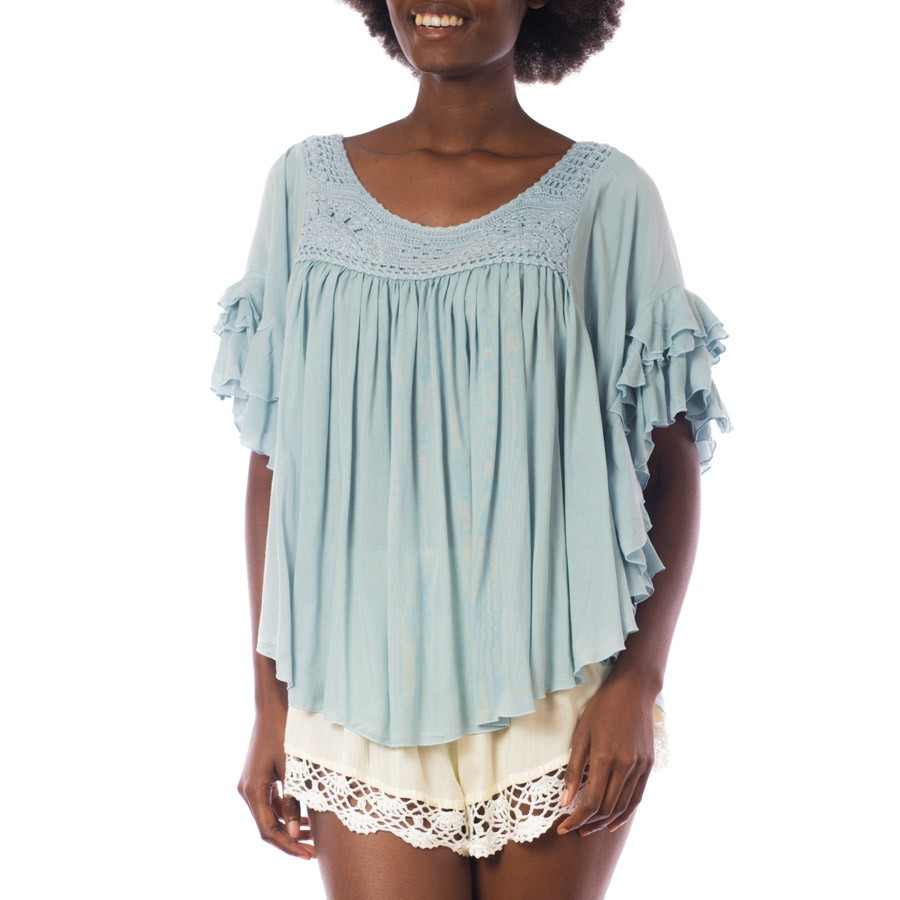 Top Volant crochet Baby Blue Belle & Toile