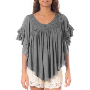 Top Volants crochet Gris Belle & Toile