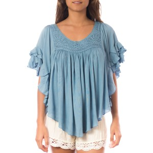 Top Volants crochet Bleu Denim Belle & Toile