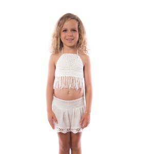 Short Crochet Fille Blanc Belle & Toile