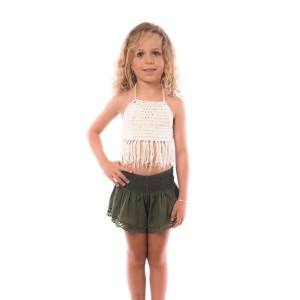 Short Crochet Fille Kaki Belle & Toile