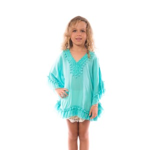 Pancho Pompon Fille Turquoise Belle & Toile