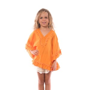 Pancho Pompon Fille Orange Belle & Toile