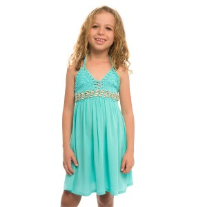 Robe Dos-nu Crochet Fille Turquoise Brodée Coquillages Belle & Toile